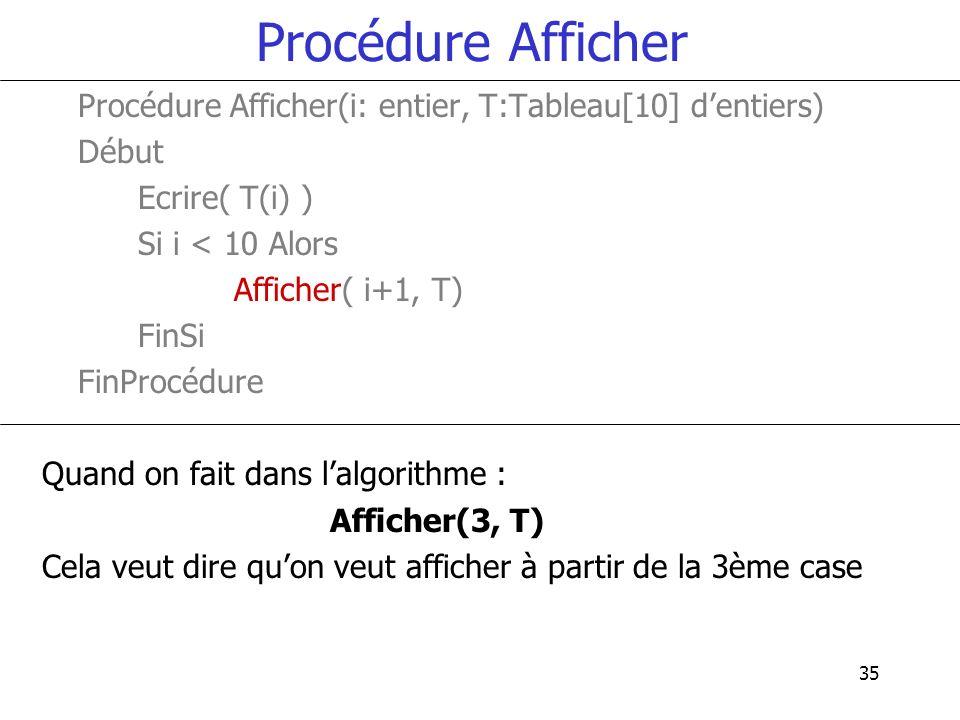 Procédure Afficher Procédure Afficher(i: entier, T:Tableau[10] d'entiers) Début. Ecrire( T(i) ) Si i < 10 Alors.